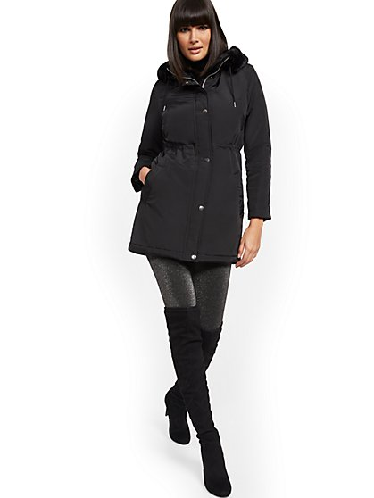 Black Hooded Puffer Jacket - New York & Company