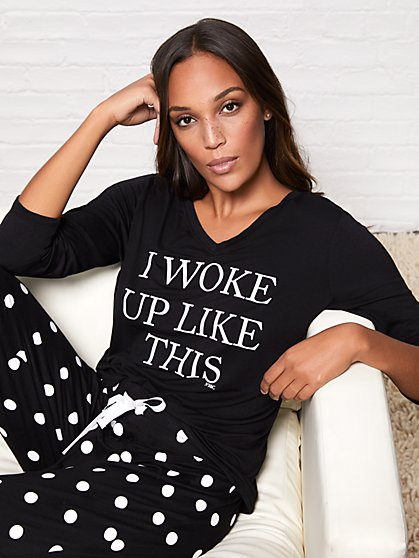 "Black ""I Woke Up Like This"" Sleep Tee - New York & Company"