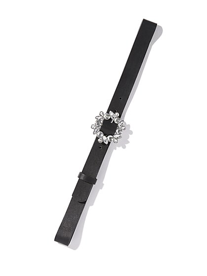 Black Jeweled Skinny Belt - New York & Company