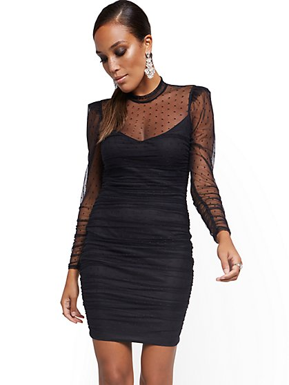Black Lace Illusion Sheath Dress - New York & Company