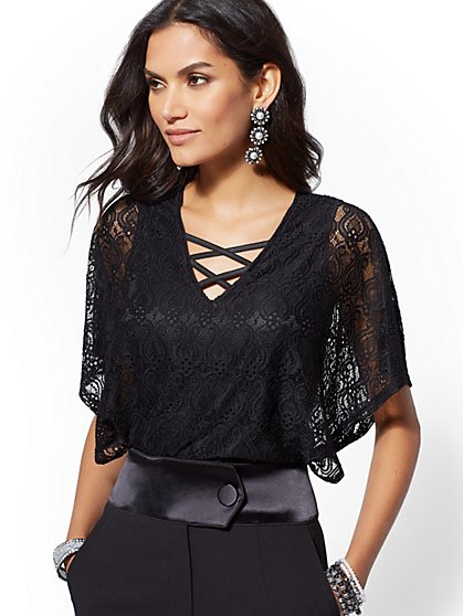 Black Lace-Overlay Bodysuit - New York & Company