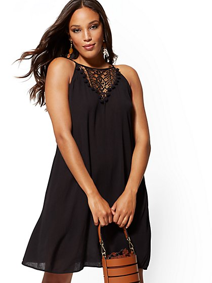 9d69cdc0a29 Black Lace-Trim Halter Shift Dress - New York   Company ...