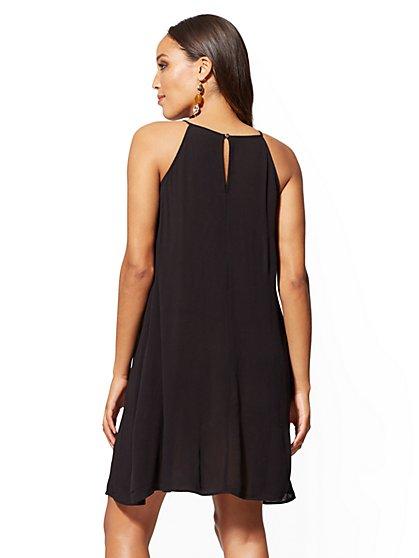 c55f033b26e ... Black Lace-Trim Halter Shift Dress - New York   Company