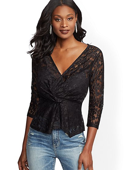 Black Lace V-Neck Blouse - New York & Company
