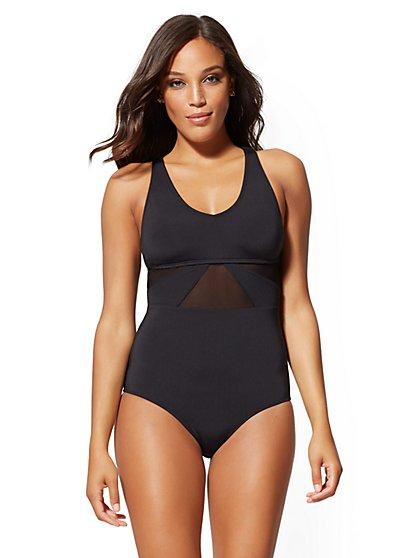 0e55ba7ae43 Black Mesh-Inset One-Piece Swimsuit - NY&C Swimwear - New York & Company ...