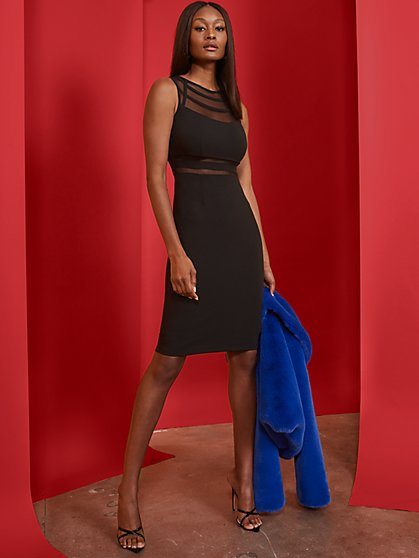 Black Mesh-Inset Sheath Dress - Magic Crepe - New York & Company