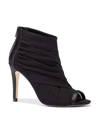 Black Mesh Open-Toe Bootie - New York & Company