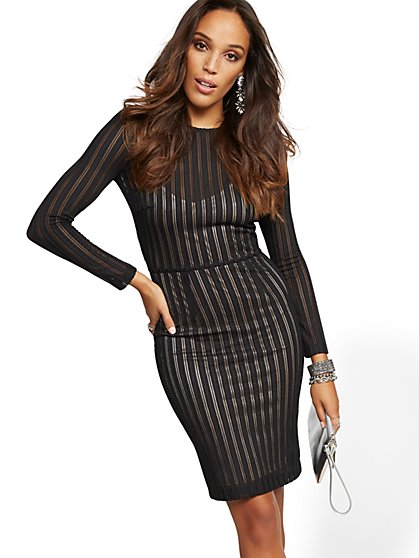 Black Mesh Stripe Sheath Dress - New York & Company