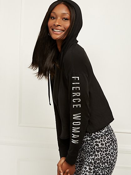"Black Metallic-Foil ""Fierce"" Hoodie - Soho Street - New York & Company"