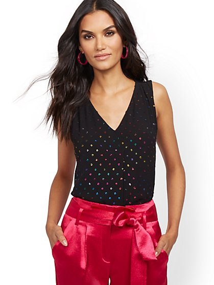 Black Metallic Multicolor Clip-Dot Sleeveless Top - New York & Company