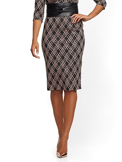 Black Metallic Pull-On Pencil Skirt - 7th Avenue - New York & Company