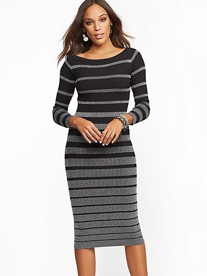 Black Metallic Stripe Sweater Dress - New York & Company
