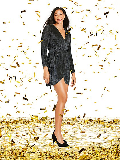 Black Metallic Wrap Dress - Gabrielle Union Collection - New York & Company
