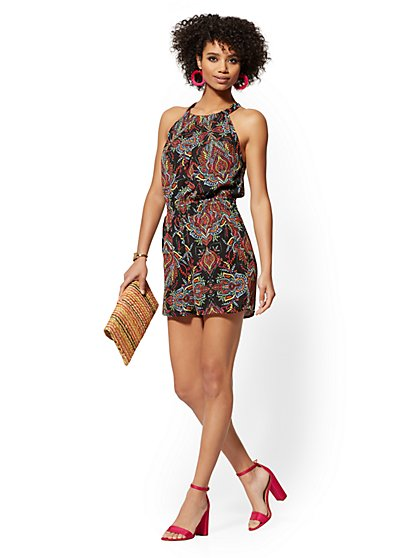 Black Multicolor-Print Halter Romper - New York & Company