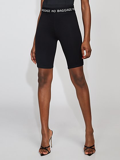 "Black ""No Baggage"" Biker Short - Gabrielle Union Collection - New York & Company"