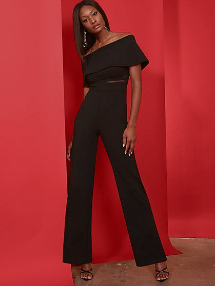 Black Off-The-Shoulder Mesh-Inset Jumpsuit - Magic Crepe® - New York & Company