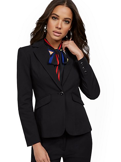Black One-Button Jacket - All-Season Stretch - 7th Avenue - New York & Company