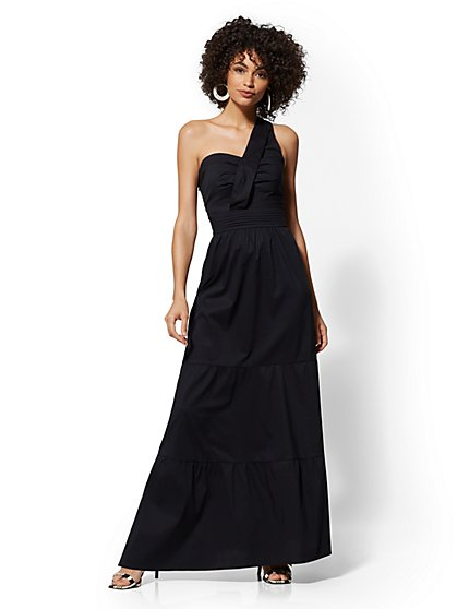 Black One-Shoulder Tiered Maxi Dress - New York & Company