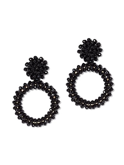 Black Open Circle Drop Earring - New York & Company