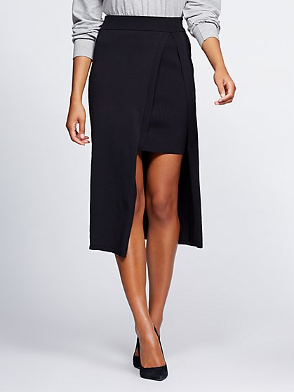 Black Overlay Sweater Skirt - Gabrielle Union Collection - New York & Company
