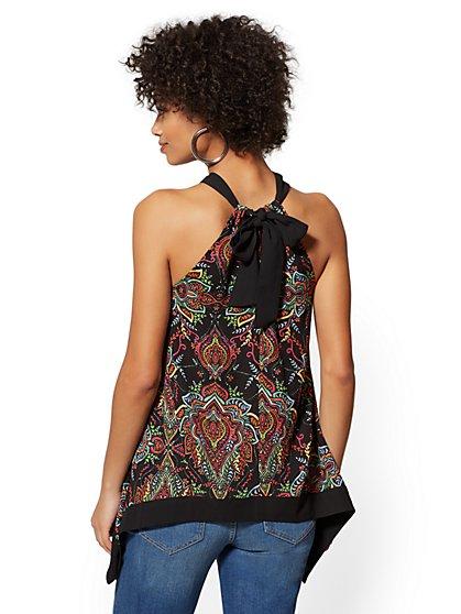 38119496e ... Black Paisley Handkerchief-Hem Halter Blouse - New York   Company