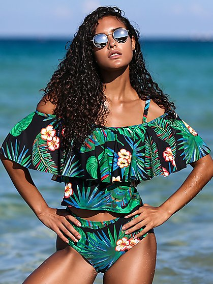 Black Palm-Print Flounced Tankini Top -NY&C Swimwear - New York & Company