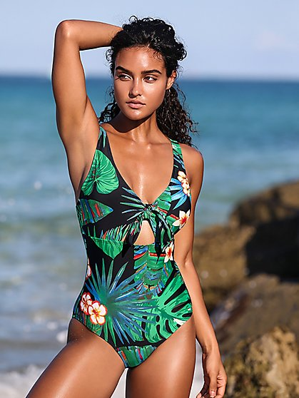Black Palm-Print Tie-Front One-Piece Swimsuit - NY&C Swimwear - New York & Company