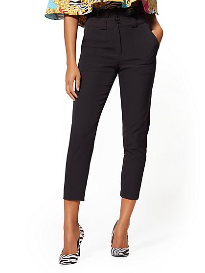 Black Paperbag-Waist Slim Ankle Pant - 7th Avenue - New York & Company