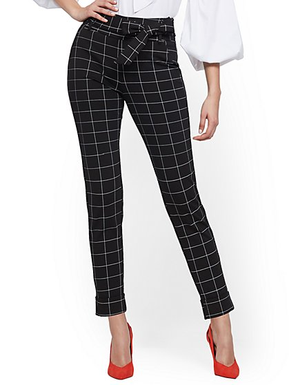 Black Plaid Pull-On Slim Ankle Pant - Ponte - 7th Avenue - New York & Company
