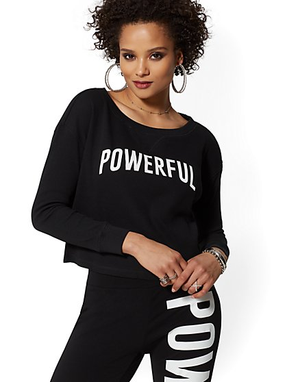 "Black ""Powerful"" Thermal Long Sleeve Tee - Soho Street - New York & Company"