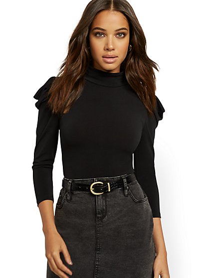 Black Puffed-Sleeve Turtleneck Top - New York & Company