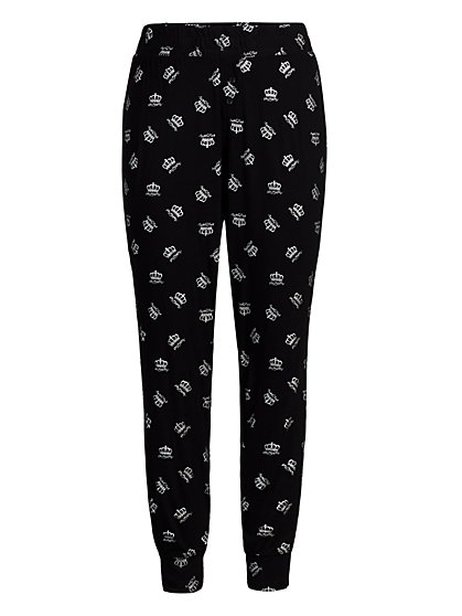 "Black ""Queen Mom"" Jogger Pajama Pant - New York & Company"