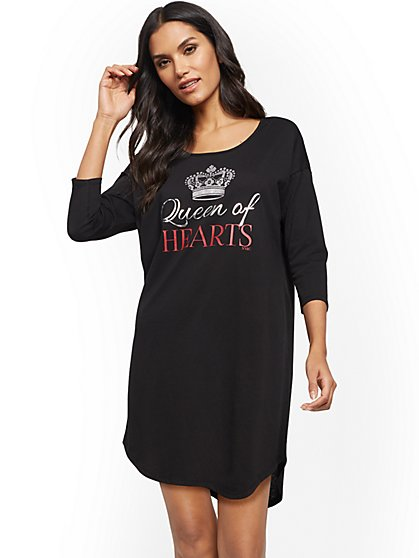 "Black ""Queen of Hearts"" Sleepshirt - New York & Company"