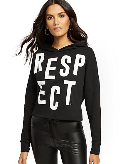 "Black ""Respect"" Hooded Sweatshirt - Soho Street - New York & Company"
