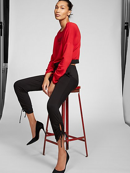 Black Ruched Ankle Pant - Gabrielle Union Collection - New York & Company