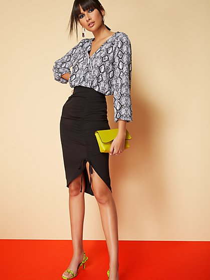 Black Ruched Pencil Skirt - 7th Avenue - New York & Company