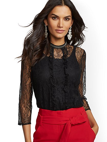 Black Ruffled Lace Blouse - New York & Company
