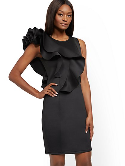 Black Ruffled Sheath Dress - New York & Company
