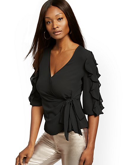 Black Ruffled Tie-Front Blouse - New York & Company