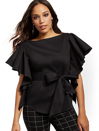 Black Ruffled Tie-Front Shirt - 7th Avenue - New York & Company