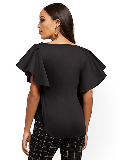 Black Ruffled Tie-Front Shirt - 7th Avenue - New York & Company