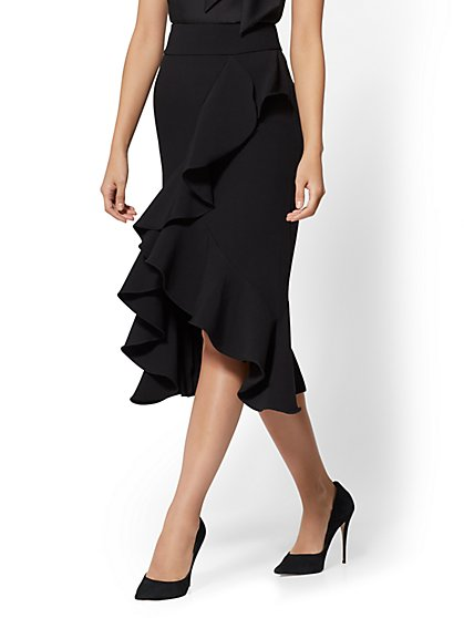 Black Ruffled Wrap Skirt - New York & Company