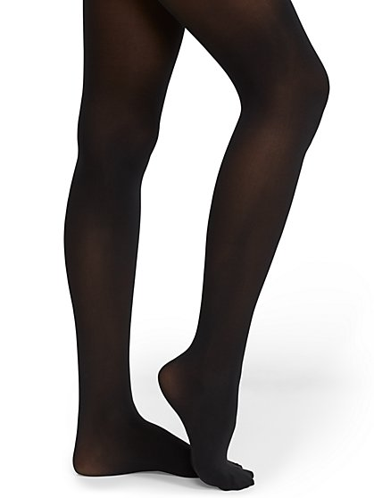 Black Semi-Opaque Control-Top Tights - New York & Company