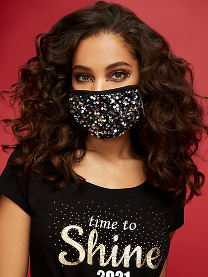 Black Sequin Face Mask - New York & Company