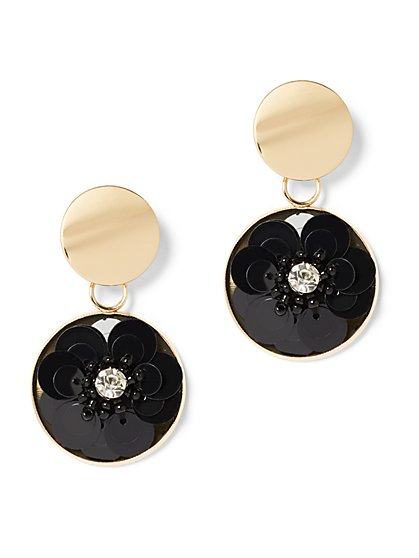 Black Sequin Floral Drop Earring - New York & Company
