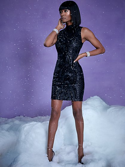 Black Sequin Sheath Dress - New York & Company