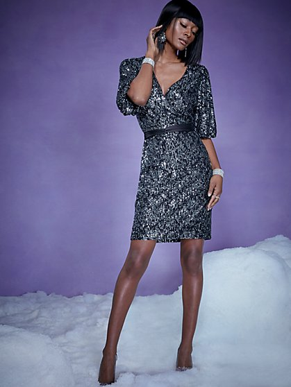 Black Sequin Wrap Dress - New York & Company