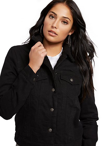 Black Sherpa-Lined Denim Jacket - New York & Company