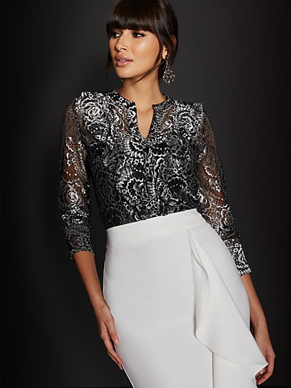 Black Shimmer Lace Blouse - New York & Company