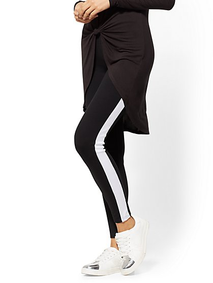 Black Side-Stripe Knit Legging - New York & Company